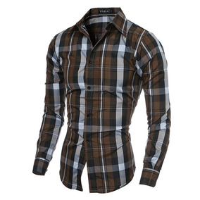 Camisas Modern Plaid Slimfit Shirt A Cuadros Casual Elegante