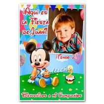 Mickey Bebé Cartel Cumpleaños Bienvenida Con Tu Foto Nombre