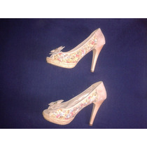 Sapato Salto 10 Cm Scarpin Floral Amarylis N* 36 Couro