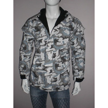 Chamarra Camouflage Gris Slim Moda Para Hombre Talla Large