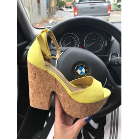 Sandália Amarelo, Salto Cortiça ( Rolha ) 13cm- Várias Cores