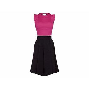 Conjunto Falda Blusa Rosa-negro 3320