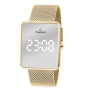 Relógio Champion Dourado Espelhado Ch40080b Led Branco