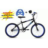 Bicicleta Infantil Aro 20 Masculina Mascara + Rodinhas Bike