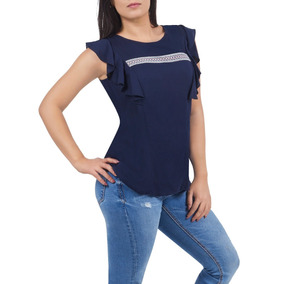 Blusa Azul Dama Con Escarolas Detalle En Pecho Devendi Denim