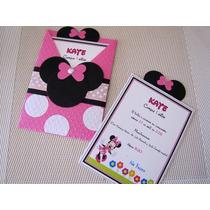 Invitación Minnie Con Sobre De Papel Personalizada