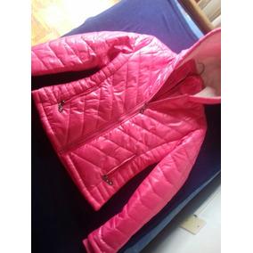 Campera Doble Mujer Impermeable Rosada Infladita Con Capucha