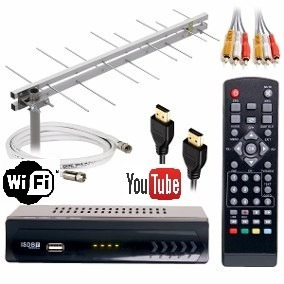 Kit Conversor Digital Wifi Youtube+antena 28 Elemen+cabo 10m