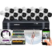 Kit 16 Câmeras Segurança Intelbras 3130b 16 Canais Wd Purple