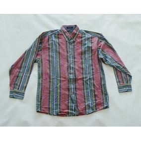 Camisa Clasica De Vestir Rayada Manga Larga Hombre Talle M