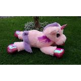 Unicornio Peluche Fino 80 Cm Color Rosa Envio Gratis