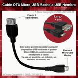 Cable Otg Microusb Macho A Usb Hembra Smartphone Tablet Celu