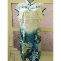 Vestido Tradicional China--qi Pao. Algodón Y Encaje