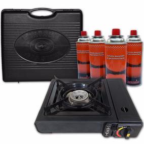 Anafe Cocina Portátil Gas Butano E Elect+4 Cartuchos+maletín