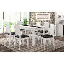 Conjunto Mesa De Jantar Barbara C/6 Cadeiras Branco/preto -