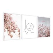 Quadros Decorativo Com Flores Cerejeira Com Moldura Branca