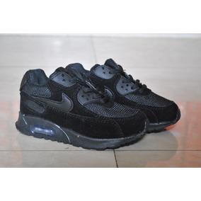 Kp3 Zapatos Nike Air Max 90 Negro Completo Para Niños