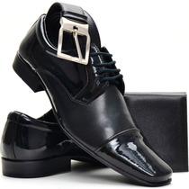 Sapato Masculino Social Envernizado Brilho Kit Dhl Calçados