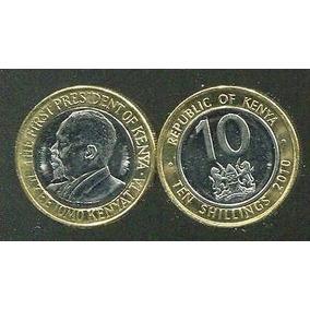 Moeda Bimetalica Do Quênia 10 Shillings 2010 Fc