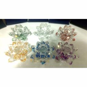 Flor Lótus Cristal Vidro Brilhante Decorativa Cores 9 Cm