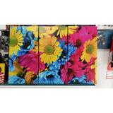 Cuadro Triptico Margaritas Flores Colores Flora 40x60cm