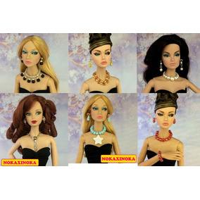 Kit Jóia Pra Boneca Barbie Fashion Royalty * Colar + Brincos