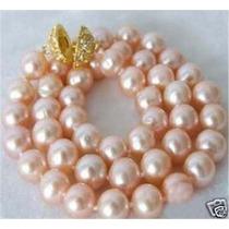 Hermoso Collar Perlas Cultivadas Rosa 10/11 Mm. Broche Oro.