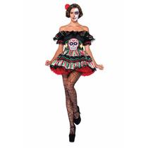 Disfraz Mujer Halloween Dia De Muertos Catrina Calavera