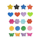 Kit C/100 Apliques Eva Glitter Diversas Cores - Tamanho Pp