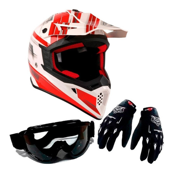 Kit Casco Max 325 Rojo + Guantes + Antiparra Cross Fas Motos