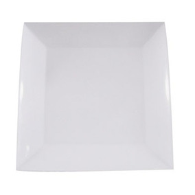 Prato Quadrado Branco 25cm Melamina Buffet Lanchonete - 16un