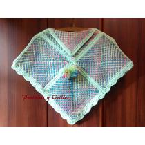 Poncho Nena Artesanal Tejido En Telar Crochet Talle 4/5 Saco