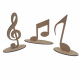 Kit Com 3 Notas Musicais Na Base Mdf Cru Centro De Mesa