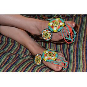 Hermosas Sandalias Color Cobre Con Diseño De Chaquira