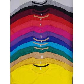 Camiseta Masculina Básica Camisa Slim Fit Lisa Algodão