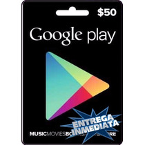 Tarjeta Gift Card Google Play $50 Usd Juegos Apps Android