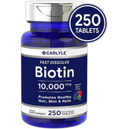 Biotina Premium Cabello, Piel & Uñas 10,000mcg 250 Tabletas