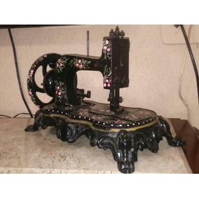 Máquina De Costura Antiga Pintada À Mão Pequena, Marca Alemã