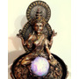 Fuente De Agua Buda Diosa Lakshmi Zen Con Luz Bola Giratoria