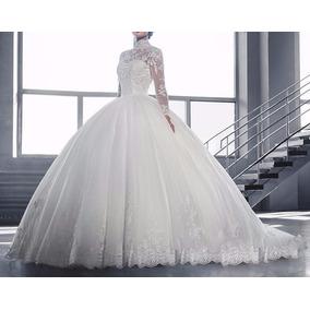 Vestido Noiva Manga Longa Casamento Pronta Entrega