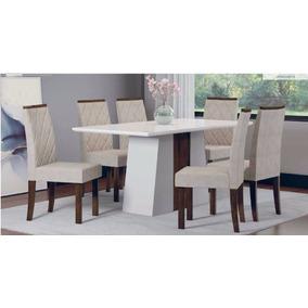 Conjunto Elegance 6 Cadeiras Sala De Jantar -cor Branco-bege