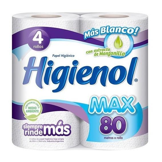 Papel Higiénico Higienol Max 80mts Premium Paquete X 4 Und