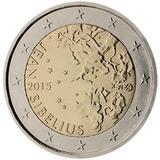 Moeda De 2 Euros Comemorativa Finlândia 2015 - Jean Sibelius