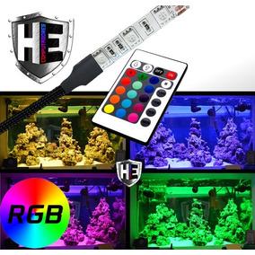 Luminária Para Aquário Fita Led Rgb 50cm 5050 Controle Top