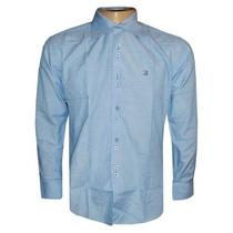 Camisa Social Ricardo Almeida Manga Longa Azul