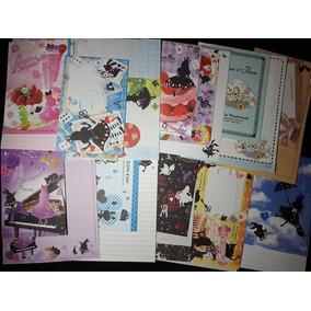 Lote C/10 Conjuntos De Papéis Papel De Carta Alice Decorado