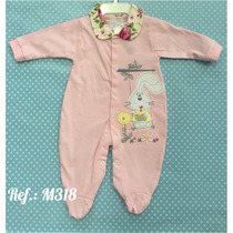 Macacao Menina Em Malha Gabriely Baby Bebe