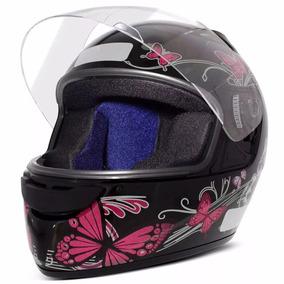 Capacete Moto Ebf New Spark Fechado Borboleta Preto E Rosa