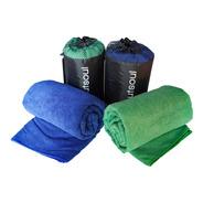 Pack Dos Toallas Azul Y Verde Microfibra Extra Grande