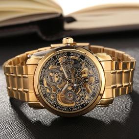 Reloj Automatico Skeleton Hombre Dorado, Negro, Acero Inox